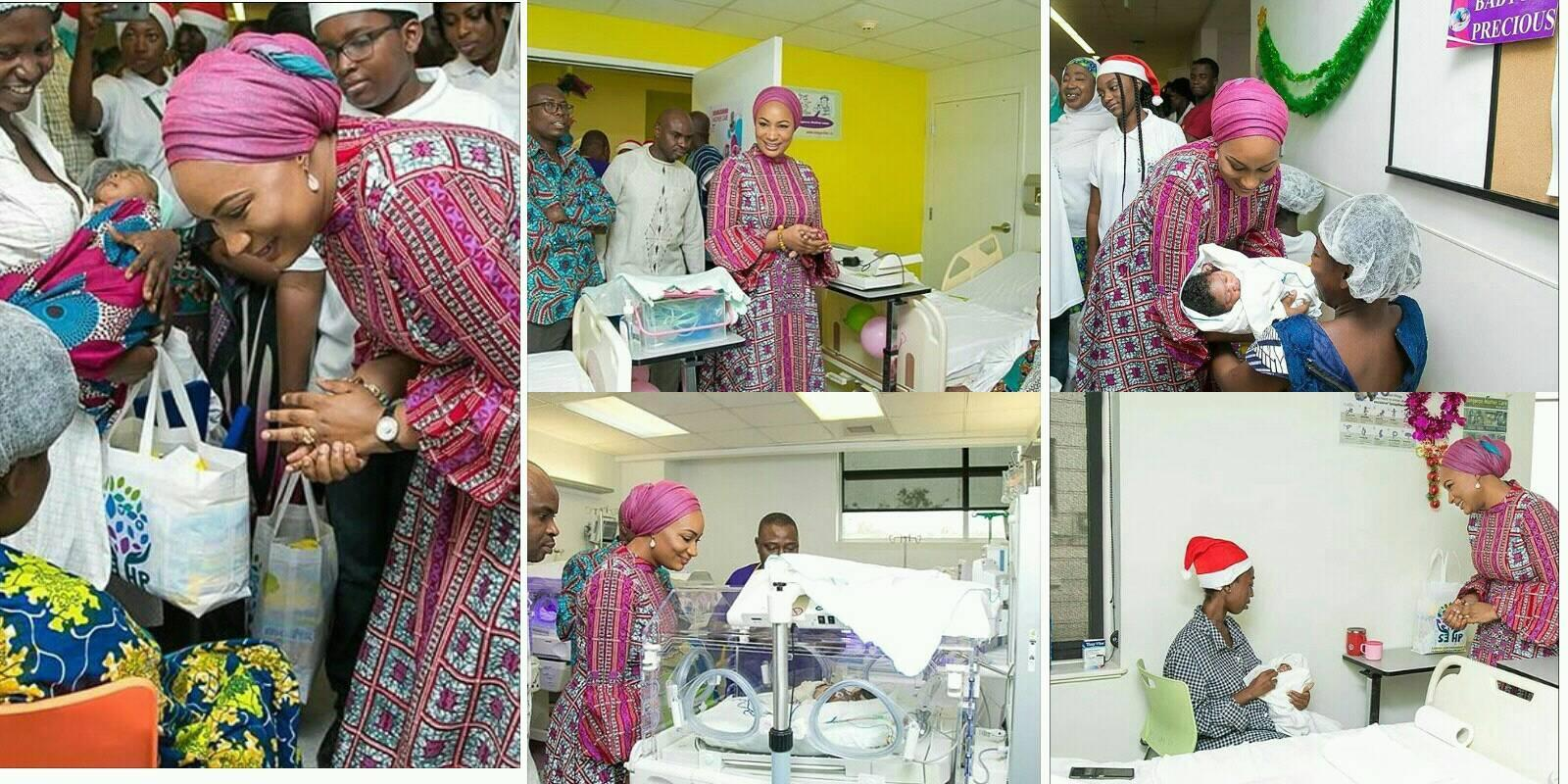 Samira Bawumia, donates to patients at a hospital