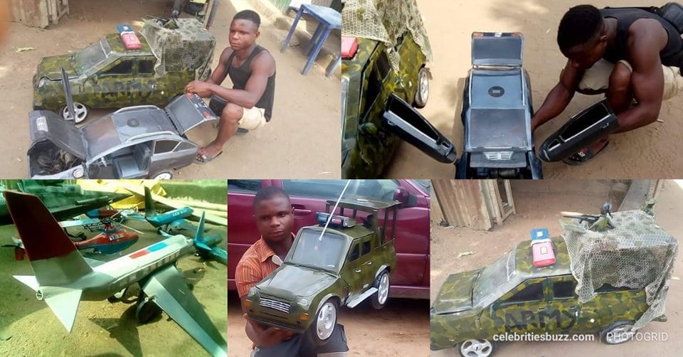 Young man who designs cars & aeroplane using scrap metals goes viral