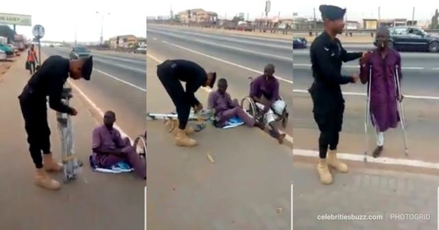 Ghanaian Police Officer buys crutches for a disabled street beggar
