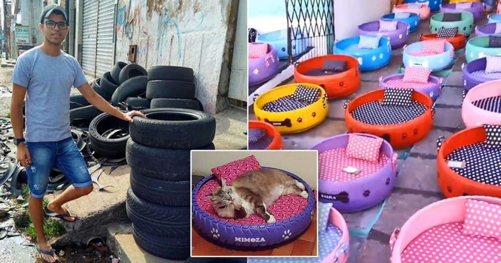 Man transforms old tires into adorable little beds for animals