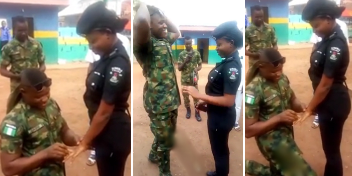 Nigerian Soldier Publicly Proposes To His Beautiful Police Lover