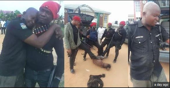 Policeman Hugs Vigilante Member Warmly After He Was Rescued From Kidnappers'