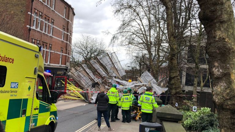 Scaffolding Collapses Outside Royal Free Hospital In Hampstead, London