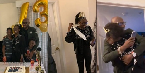 Photos: 2face Idibia Flies 6,000 Miles To Surprise Daughter, Ehi On 13Th Birthday