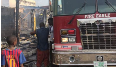 Very Sad: Goods Worth Millions Of Naira Destroyed As FIRE Guts Shops In Lagos [PHOTOS]