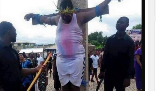 Shocking: Governor Rochas Okorocha Crucified Himself On The Cross [PHOTO]