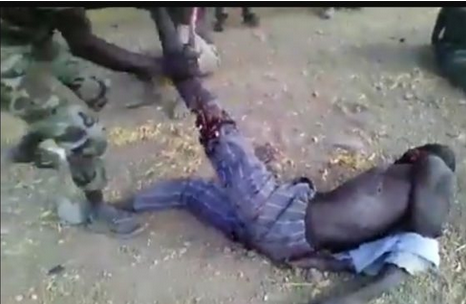 Sad Video: Nigerian Soldier Breaks A Man's Leg, Chop It Off And Force Him To Eat It