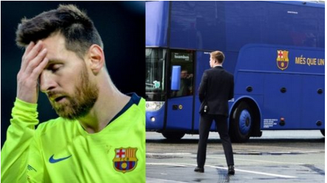 Checkout: Barcelona Team Bus Leaves Lionel Messi At Anfield After Liverpool Defeat