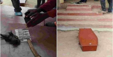 Man Wakes In Morning To Find Coffin And Charm In Front Of His House With Wired Inscription