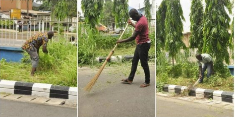 Traffic Offenders Forced To Cut Grass And Sweep In Edo State [PHOTOS]
